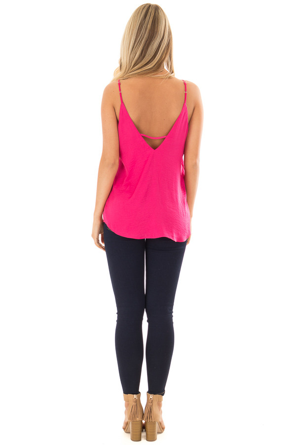 Pink Berry Tank Top with Strap Details back full body
