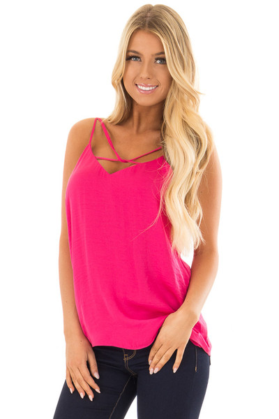 Pink Berry Tank Top with Strap Details front closeup