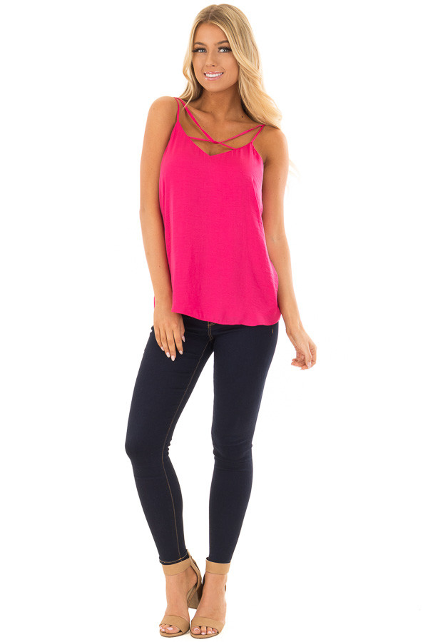 Pink Berry Tank Top with Strap Details front full body