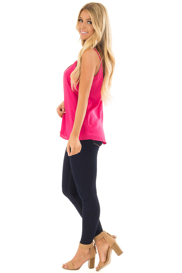 Pink Berry Tank Top with Strap Details side full body