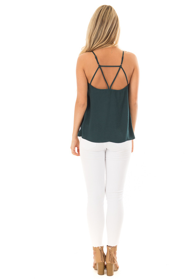 Forest Green Button Up Tank Top with Back Strap Detail back full body