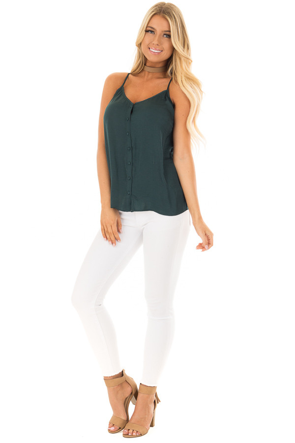 Forest Green Button Up Tank Top with Back Strap Detail front full body
