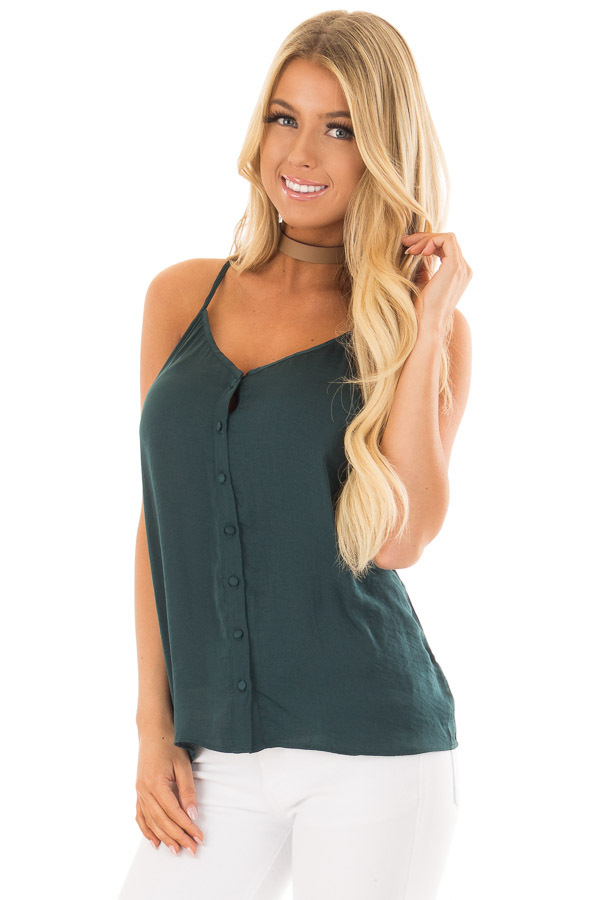Forest Green Button Up Tank Top with Back Strap Detail front closeup