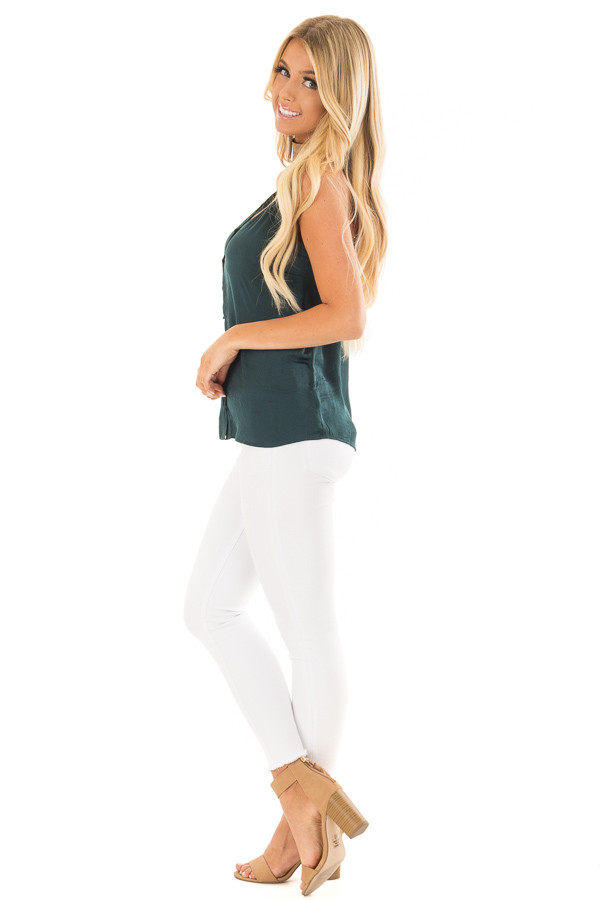 Forest Green Button Up Tank Top with Back Strap Detail side full body