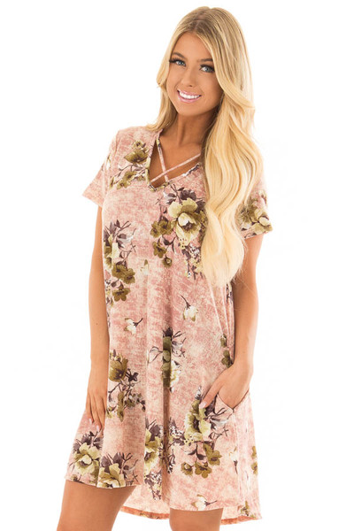 Mauve Cross V Neck Short Sleeve Floral Dress front closeup
