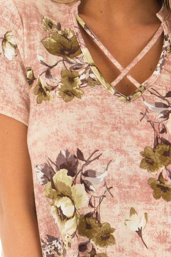 Mauve Cross V Neck Short Sleeve Floral Dress front detail