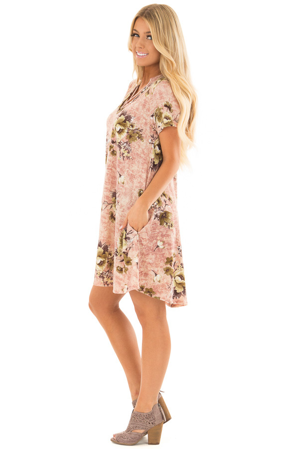 Mauve Cross V Neck Short Sleeve Floral Dress side full body