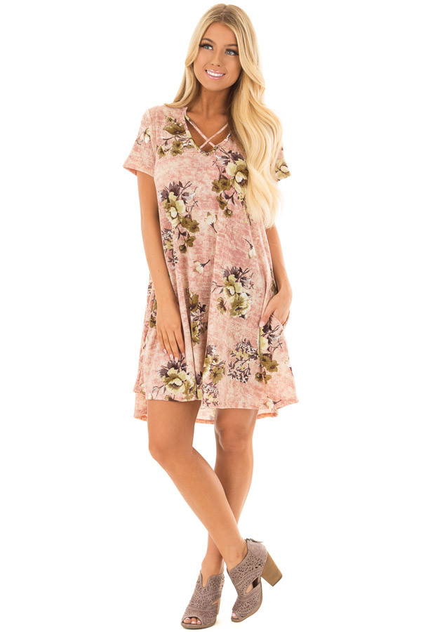 Mauve Cross V Neck Short Sleeve Floral Dress front full body