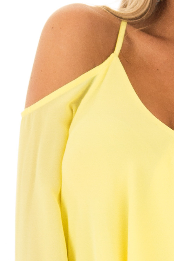 Canary Wrap Style Open Shoulder V Neck Blouse front detail