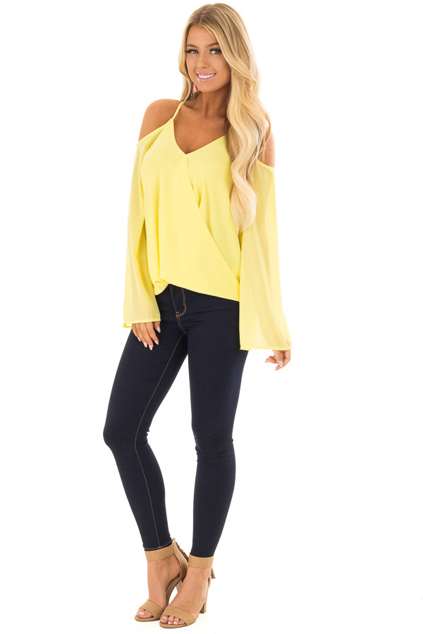 Canary Wrap Style Open Shoulder V Neck Blouse front full body