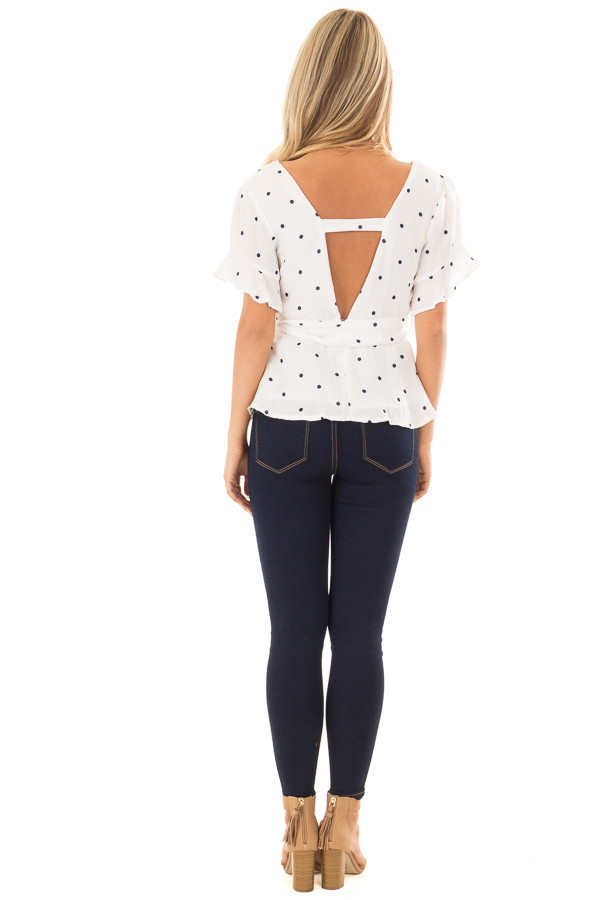 White Deep V Neck Top with Navy Polka Dots and Ruffle Detail back full body