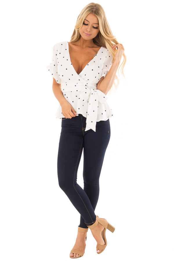 White Deep V Neck Top with Navy Polka Dots and Ruffle Detail front full body