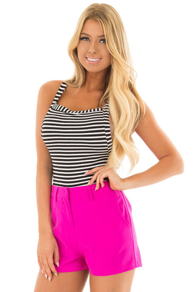 Black and White Striped Knit Bodysuit with Cross Back Straps front close up