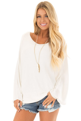Ivory Lightweight Sweater with Dolman Sleeves front close up