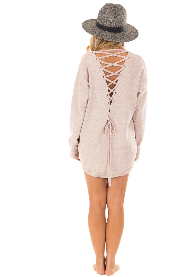 Light Mauve Sweater with Lace Up Back back full body