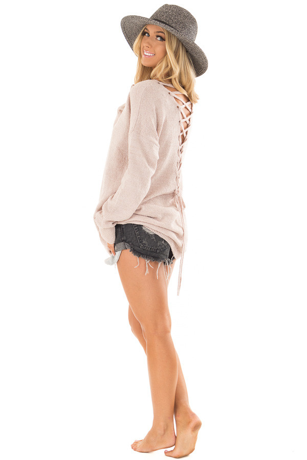 Light Mauve Sweater with Lace Up Back side full body