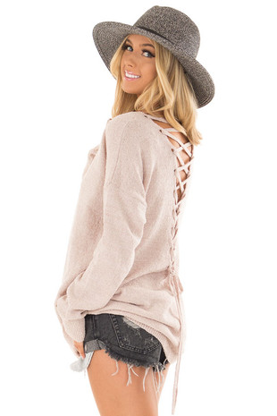 Light Mauve Sweater with Lace Up Back side closeup