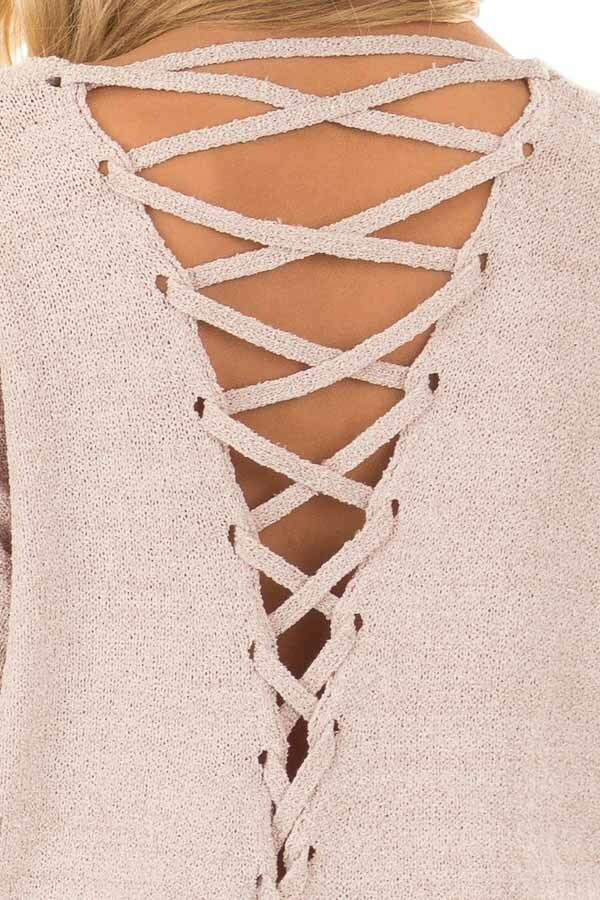 Light Mauve Sweater with Lace Up Back back detail