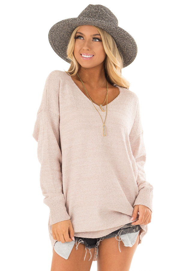Light Mauve Sweater with Lace Up Back front closeup