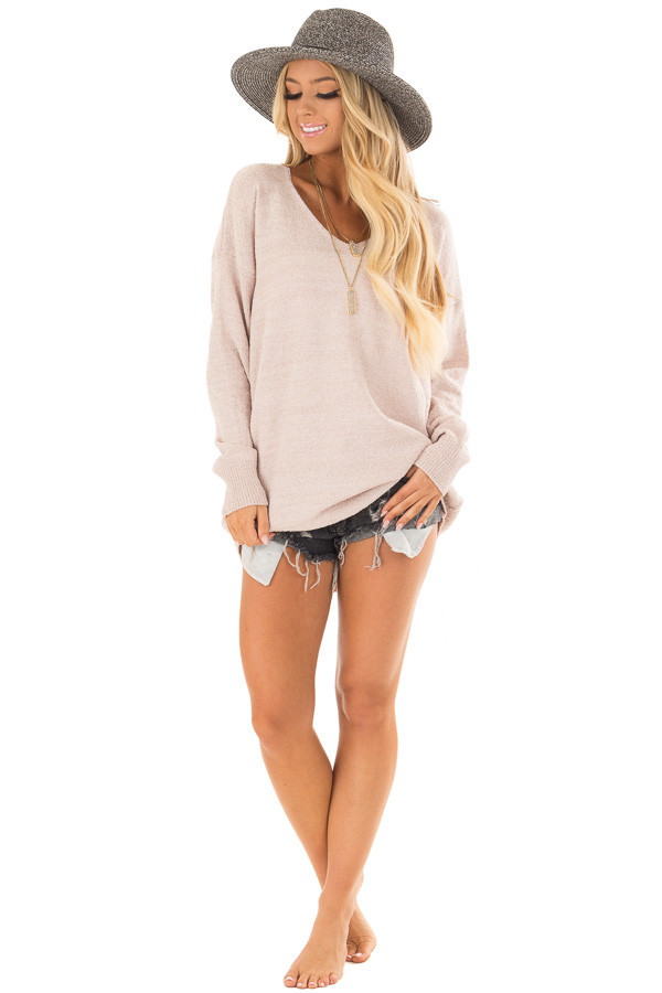 Light Mauve Sweater with Lace Up Back front full body