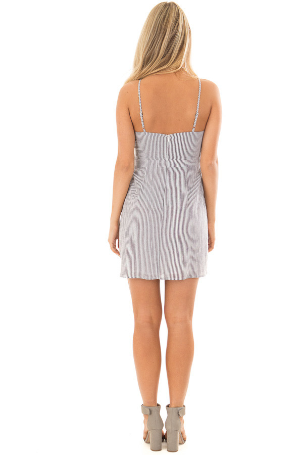 Charcoal and White Striped Spaghetti Strap Dress with Front Tie back full body