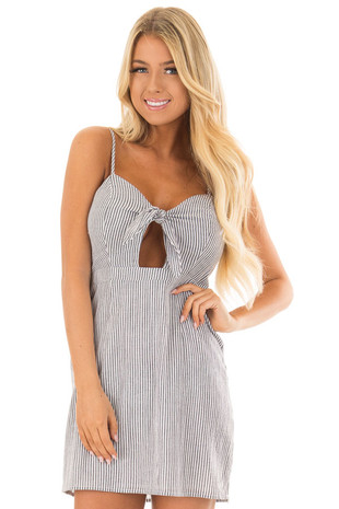 Charcoal and White Striped Spaghetti Strap Dress with Front Tie front closeup
