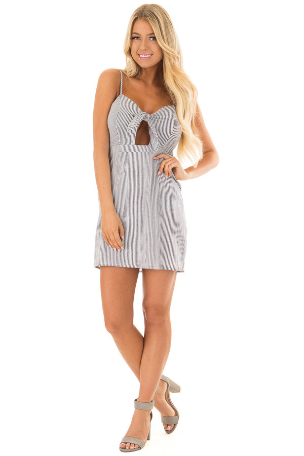 Charcoal and White Striped Spaghetti Strap Dress with Front Tie front full body