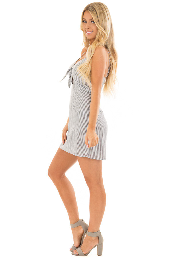 Charcoal and White Striped Spaghetti Strap Dress with Front Tie side full body