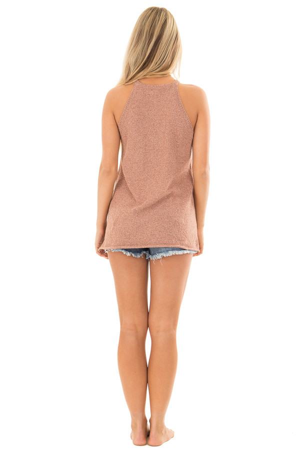 Maple High Neck Tank Top with Side Slits back full body
