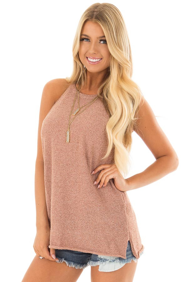Maple High Neck Tank Top with Side Slits front closeup