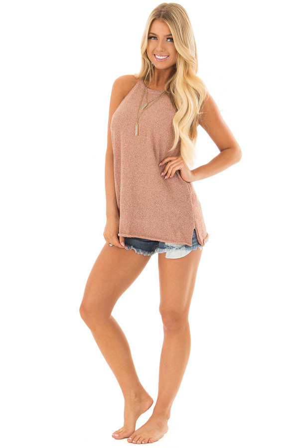 Maple High Neck Tank Top with Side Slits front full body