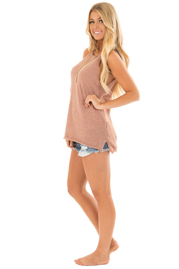 Maple High Neck Tank Top with Side Slits side full body
