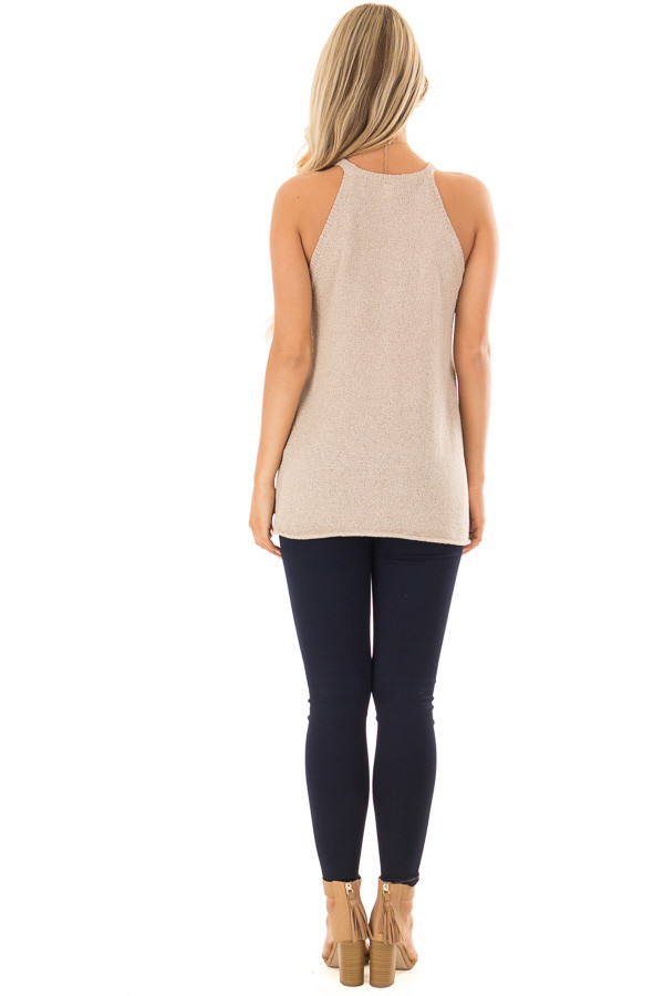 Champagne High Neck Tank Top with Side Slits back full body