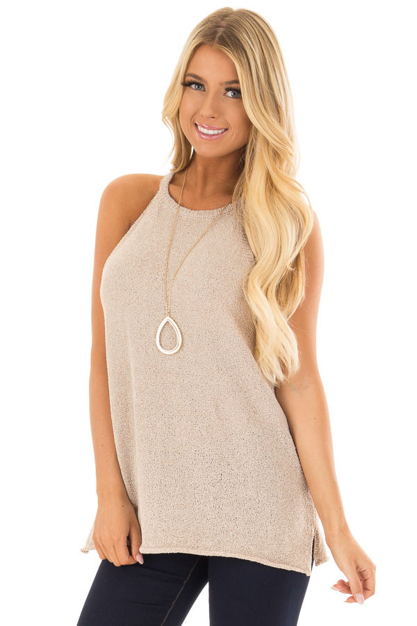 Champagne High Neck Tank Top with Side Slits front closeup