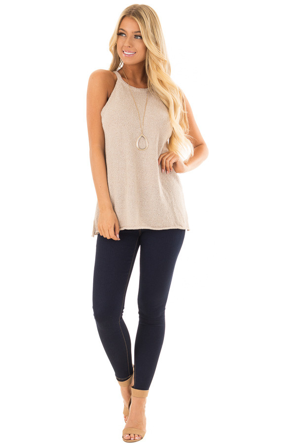 Champagne High Neck Tank Top with Side Slits front full body