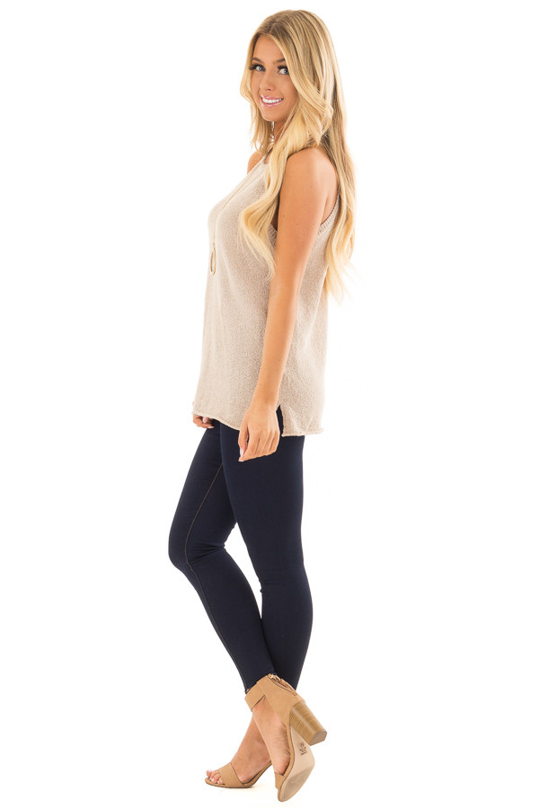Champagne High Neck Tank Top with Side Slits side full body
