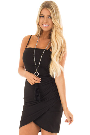 Black Ribbed Asymmetric Bodycon Dress with Side Shirring front closeup