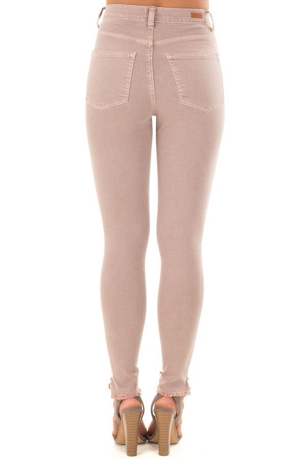 Dusty Mauve High Waist Skinny Jeans with Distressed Details back