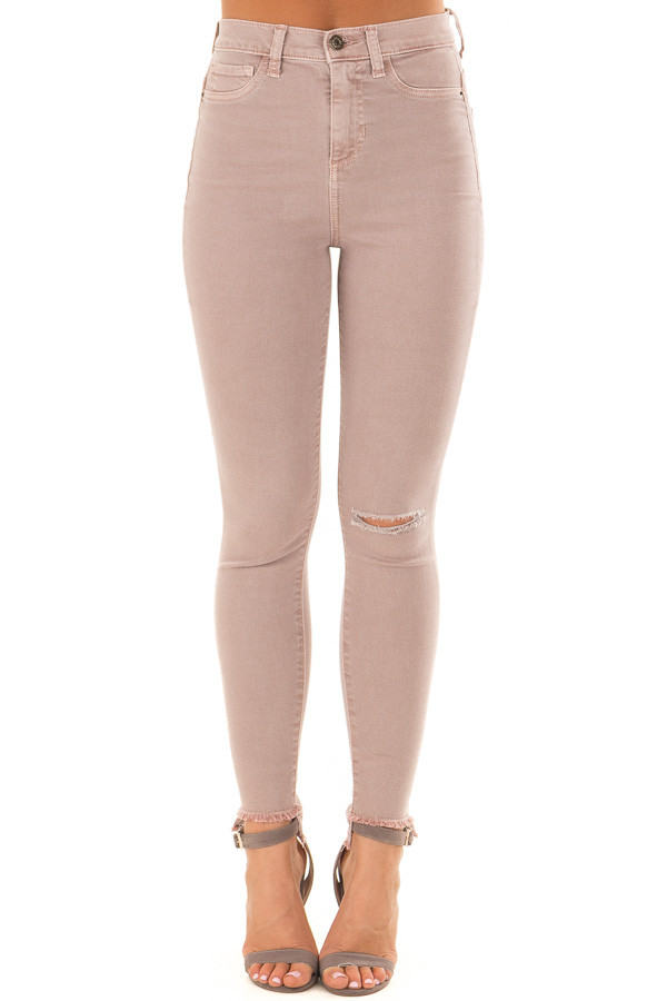 Dusty Mauve High Waist Skinny Jeans with Distressed Details front