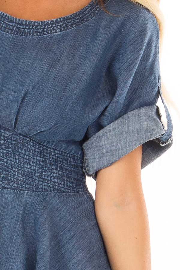 Denim Blue Peplum Top with Smocked Waist front detail