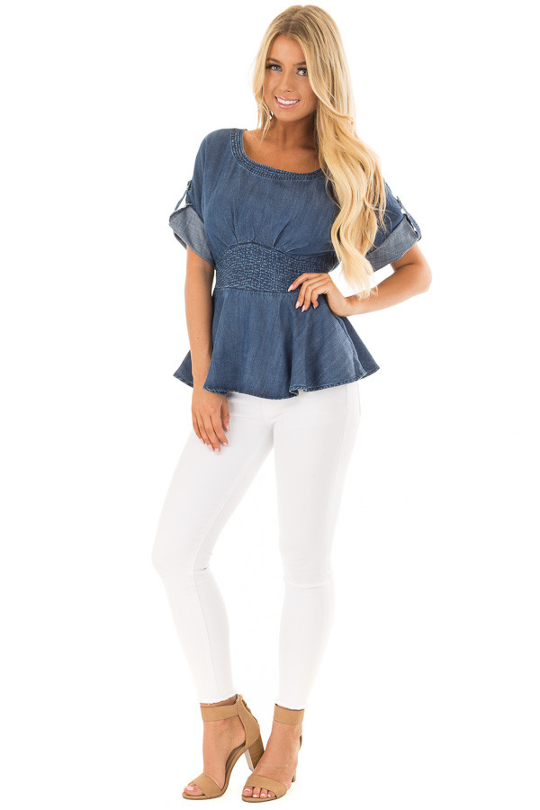 Denim Blue Peplum Top with Smocked Waist front full body
