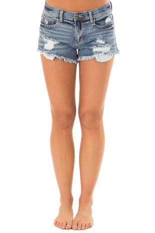 Medium Wash Distressed Denim Shorts front