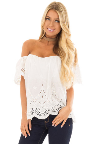 White Crochet Embroidery Off Shoulder Top front closeup