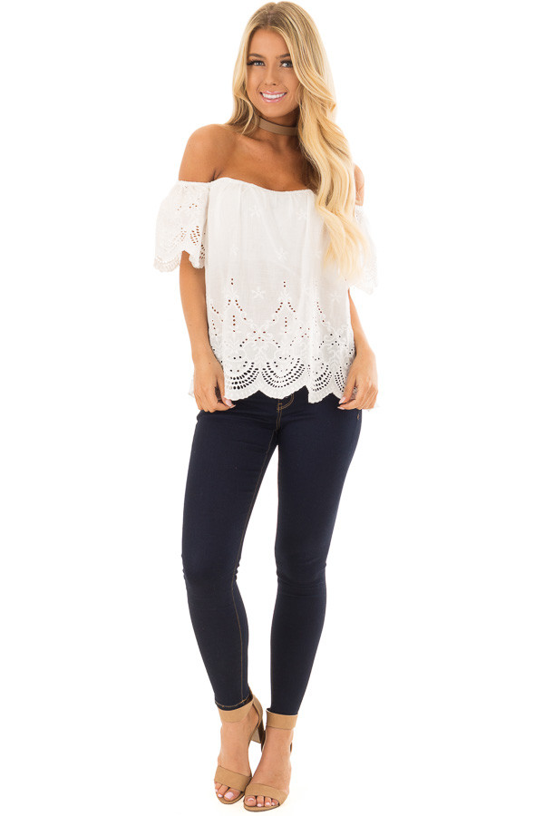 White Crochet Embroidery Off Shoulder Top front full body