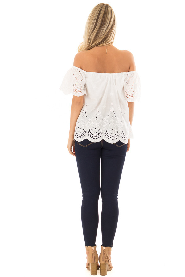 White Crochet Embroidery Off Shoulder Top back full body