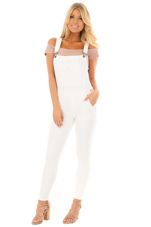 Off White Multi Pocket Skinny Denim Overalls front full body