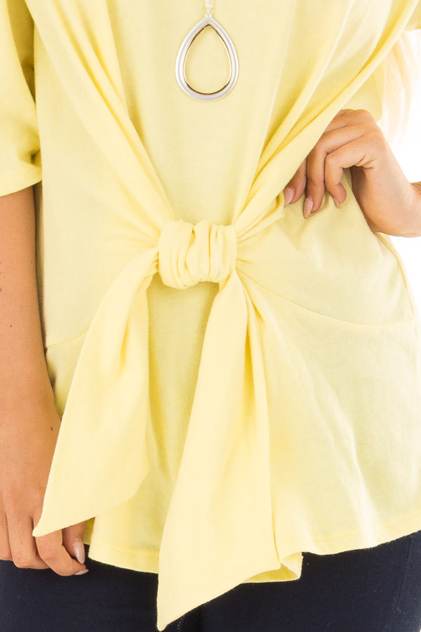 Sunshine Yellow Wrap Tie Front Top with Bell Half Sleeves front detail