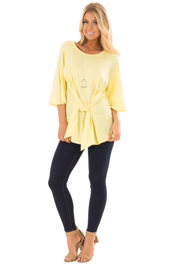 Sunshine Yellow Wrap Tie Front Top with Bell Half Sleeves front full body