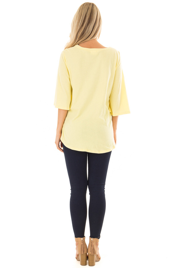 Sunshine Yellow Wrap Tie Front Top with Bell Half Sleeves back full body
