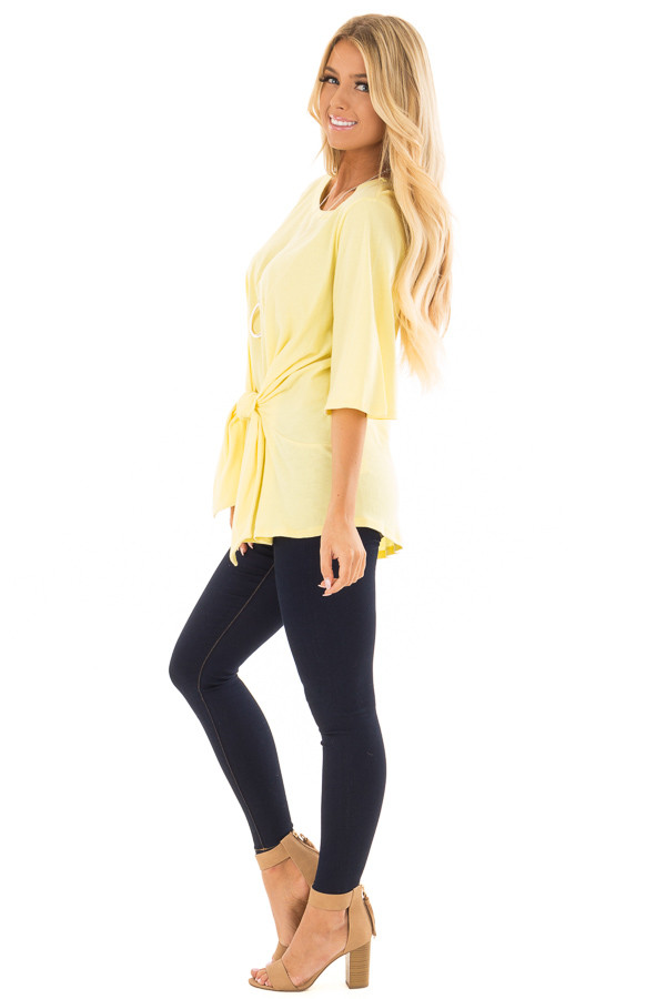 Sunshine Yellow Wrap Tie Front Top with Bell Half Sleeves side full body